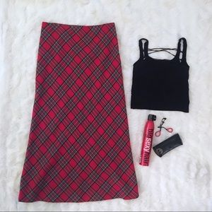 Ralph Lauren Low Rise Red Plaid Maxi Skirt